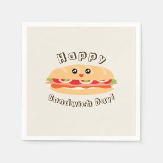 Happy National Sandwich Day Cute And Kawaii Disposable Serviette