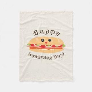 Happy National Sandwich Day Cute And Kawaii Fleece Blanket
