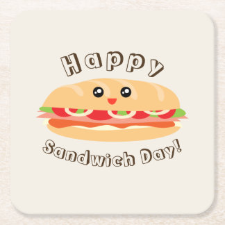 Happy National Sandwich Day Cute And Kawaii Square Paper Coaster
