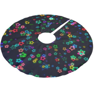 Happy Neon Star Brushed Polyester Tree Skirt