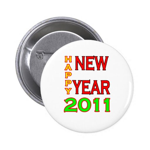 Happy New Year 2011 Green-Red Buttons