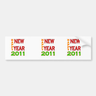 Happy New Year 2011 Green-Red Bumper Stickers
