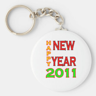 Happy New Year 2011 Green-Red Keychains