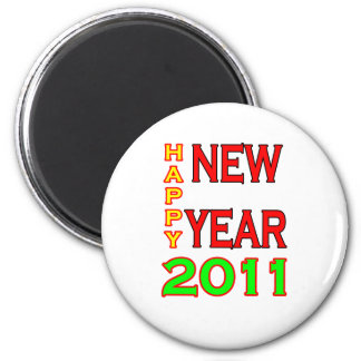 Happy New Year 2011 Green-Red Fridge Magnets