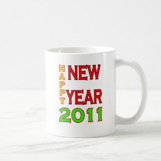 Happy New Year 2011 Green-Red Coffee Mug
