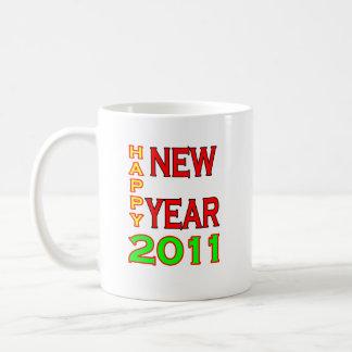 Happy New Year 2011 Green-Red Coffee Mugs