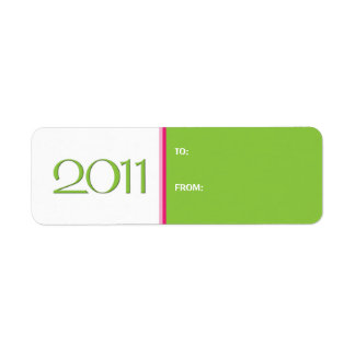 Happy New Year 2011 pink green Gift Tag Label Return Address Label