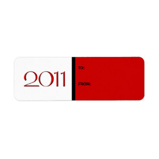 Happy New Year 2011 red black Gift Tag Label Return Address Label
