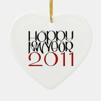 Happy New Year 2011 red black Heart Ornament