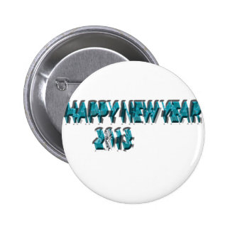 Happy New Year 2013 Blue 3 Dimension Pinback Button