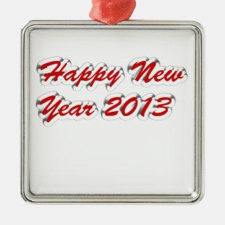 Happy New Year 2013 Silver-Colored Square Decoration