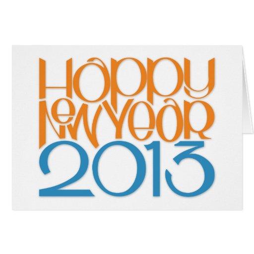 Happy New Year 2013 tangerine blue Card
