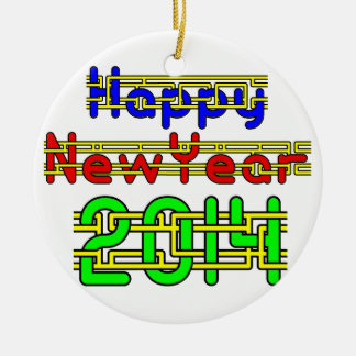 Happy New Year 2014 Double-Sided Ceramic Round Christmas Ornament