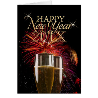Happy New Year 2014 Fireworks Champagne card