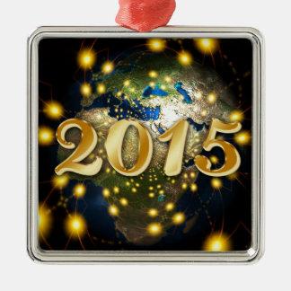 Happy New Year 2015 Silver-Colored Square Decoration