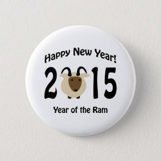 Happy New Year! 2015 Year Of the Ram 6 Cm Round Badge