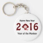 Happy New Year 2016 Year of the Monkey Basic Round Button Key Ring