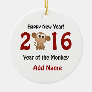 Happy New Year 2016 Year of the Monkey Round Ceramic Decoration