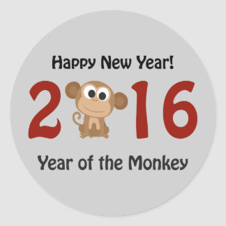 Happy New Year 2016 Year of the Monkey Round Sticker