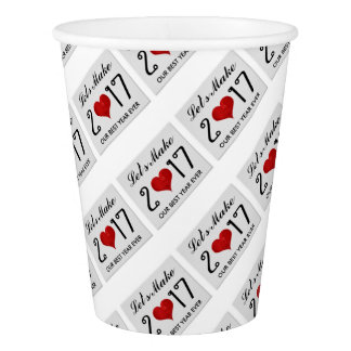 Happy New Year 2017 Best Year Ever Typography Paper Cup