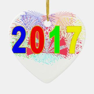 HAPPY NEW YEAR 2017 '. CERAMIC HEART DECORATION