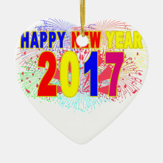 HAPPY NEW YEAR 2017 CERAMIC HEART DECORATION