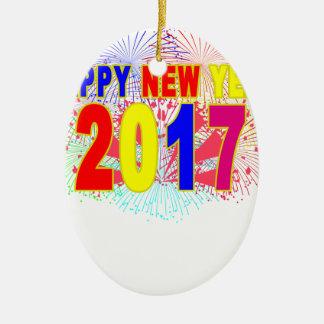 HAPPY NEW YEAR 2017 CERAMIC OVAL DECORATION