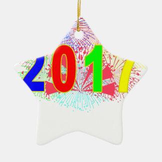 HAPPY NEW YEAR 2017 '. CERAMIC STAR DECORATION