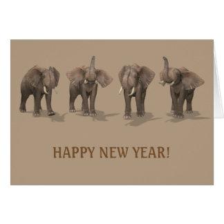 Happy New Year 2017 Elephants Card
