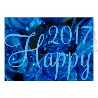 Happy New Year 2017 Festive Flower Card Blue Roses