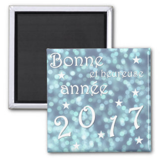 Happy new year 2017, french square magnet