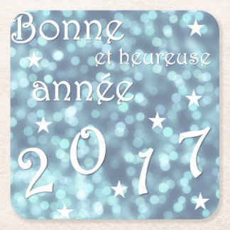 Happy new year 2017, french square paper coaster