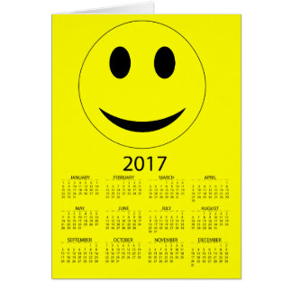 Happy New Year 2017 Funny Smiley Calendar Card