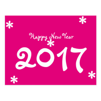 Happy New Year 2017 Hot Pink White Star Typography Postcard