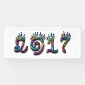 Happy New Year 2017 Rainbow Numbers Banner