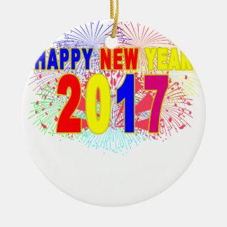 HAPPY NEW YEAR 2017 ROUND CERAMIC DECORATION