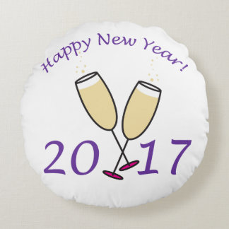 Happy New Year 2017 Round Cushion