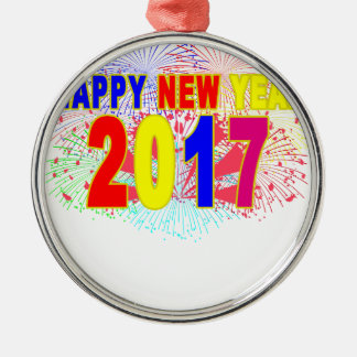HAPPY NEW YEAR 2017 Silver-Colored ROUND DECORATION