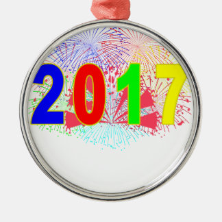 HAPPY NEW YEAR 2017 '. Silver-Colored ROUND DECORATION