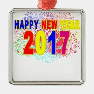 HAPPY NEW YEAR 2017 Silver-Colored SQUARE DECORATION