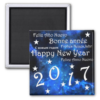 Happy new year 2017 square magnet