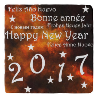 Happy new year 2017 trivet