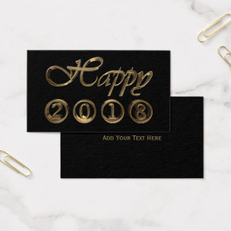 Happy New Year 2018 Black and Gold Look Typography Business Card