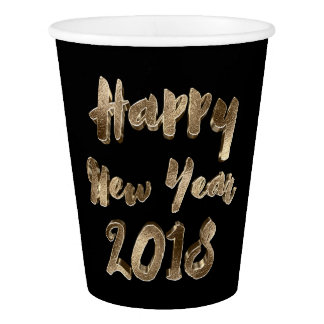 Happy New Year 2018 Black and Gold Look Typography Paper Cup