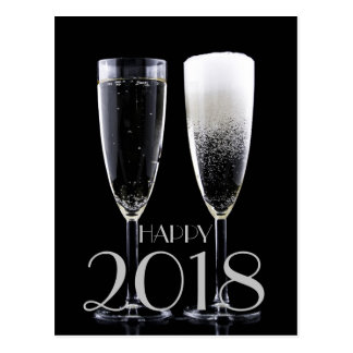 Happy New Year 2018 Black White Champagne Flute Postcard