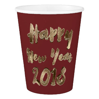 Happy New Year 2018 Burgundy Red Gold Typography Paper Cup