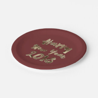 Happy New Year 2018 Burgundy Red Gold Typography Paper Plate