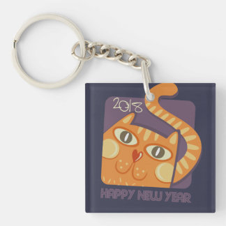 Happy New Year 2018 Cute Cat Square Keychain