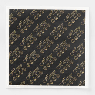 Happy New Year 2018 Elegant Black Gold Typography Disposable Serviette
