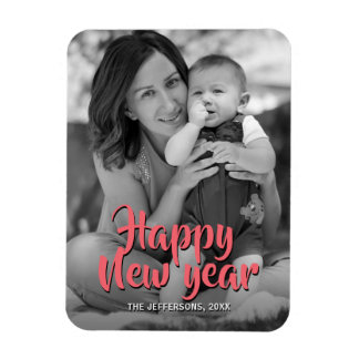 Happy New Year 2018 Family Photo Greeting Holiday Magnet